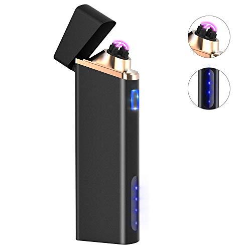 Ommani Encendedor Electrico, USB Encendedor de Doble Arco Recargable con Indicación de Batería, ARC Encendedor Antiviento para Cocina Cigarrillos Velas Papel sin Llama ni Olor
