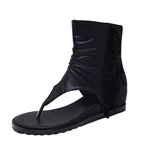 Mitlfuny Damen Sommer Sandalen Bohemian Flach Sandaletten Sommer Strand Schuhe,Rom Frauen dicken zehen Stiefel Sandalen schwarz Schnalle Sommer cool Fringe Tanga Schuhe