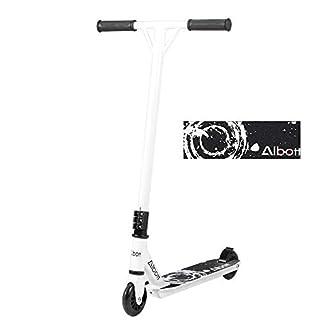 Albott Stunt Scooter Kickscooter -360 Grad Roller Erwachsene Kinder Einsteiger 100mm PU + PC Rad Garantie ( Schwarz-Weiss )
