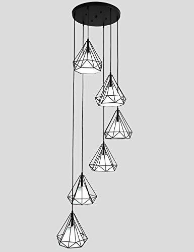 Ceiling lighting 6 Luces araña Larga para Sala de Estar Escalera giratoria Escalera Colgante luz decoración de la lámpara araña Moderna Minimalista iluminación Retro (Color : Luz Blanca): Amazon.es: Hogar