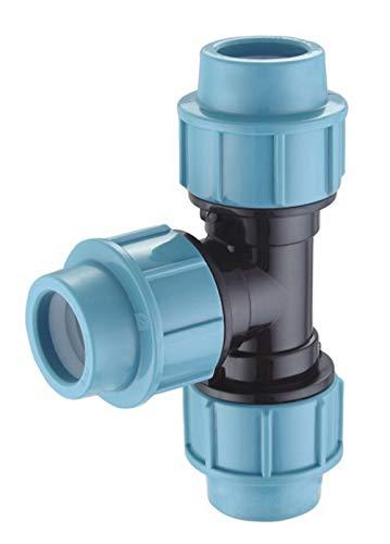 EXCOLO PP-Verbinder für 32 mm PE-Rohr Kupplung Endkappe Verbund Fitting Fittings Formteil Verschraubung Winkel (T-Stück 32mm) (Pp-rohr)