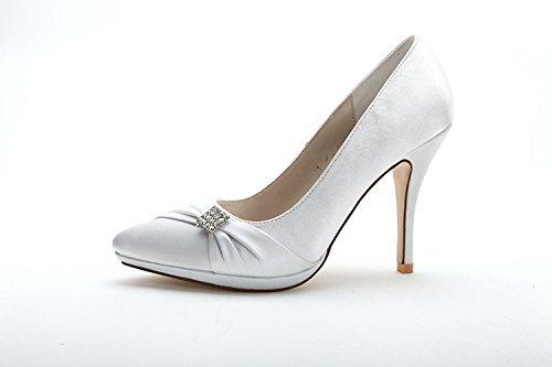 Scarpe da donna con zeppa Donna Sandali con tacco alto con tacco alto elegante White