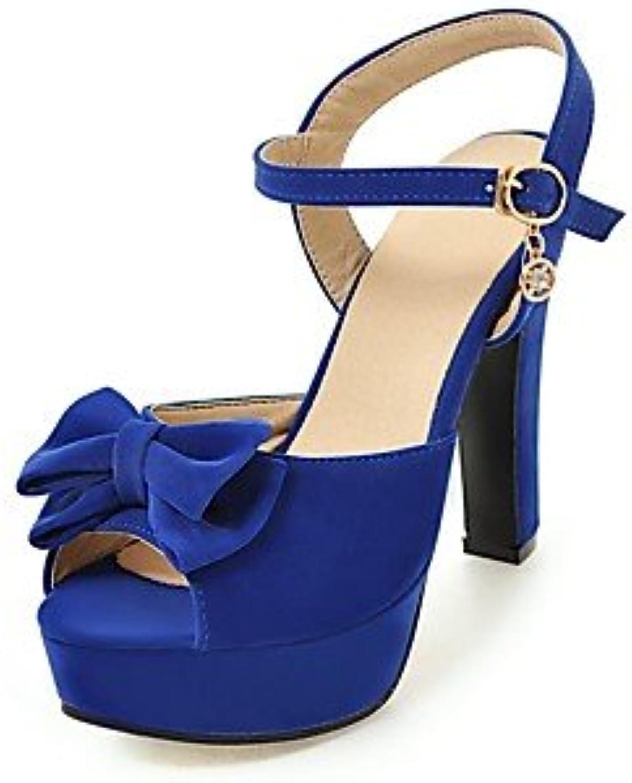 YFF Donna Sandali Chunky tacco fibbia Bowknot,blu,US5.5   EU36 EU36 EU36   UK3.5   CN35 | Dall'ultimo modello  0b8df7