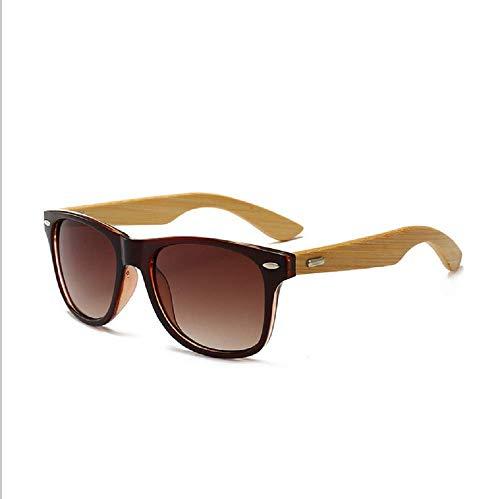 Yibaision Herren Damen Polarisierte Sonnenbrille, Unisex Damen und Herren Brille mit Bambus Bügeln aus Bambus- Holzbrille mit Etui UV-Schutz (,A)