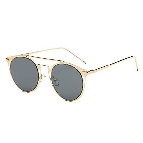 MOJINGYAN Sonnenbrillen,Vintage Colorfull Metall Sonnenbrillen Mode Thom Browne Sonnenbrille Männer Marke Sonnenbrille Box Frauen Gold Grau