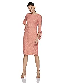 4be2277c75 Stalk Buy Love Women s Polyester Coral May Lace Bodycon Dress  (In1704Mtodrepch-352 Medium)