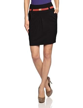TOM TAILOR Damen Rock (knielang) 55121340070/solid jersey skirt, Gr. 34 (XS), Schwarz (2999 black)