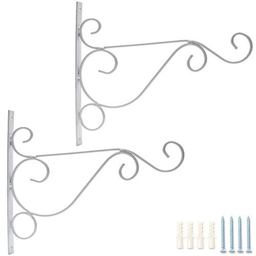 Pflanzenhaken, Haken für Balkon Garten Wandhalter für Hanging Basket Hängevorrichtung Blume Blumenampelhalter aus Metall Hängende Pflanzen Halterung für Laterne Blumentöpfe in weiß/schwarz, 2 Stück -