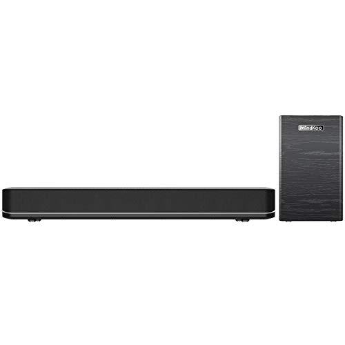 Soundbar mit Subwoofer, Bluetooth Sound bar für TV Geräte Lautsprecher System (2.1 Kanal, Kraftvoller Bass, 3D Surround Sound,Kabel Verbindung,Touch-Taste)