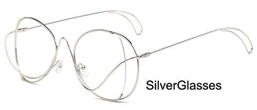 LKVNHP Marke Metall Oval Damen Sonnenbrille Uv Protector Gradient Summer Sea TrendyBrillengestellFrauen TrendyWTYJ028 Silber