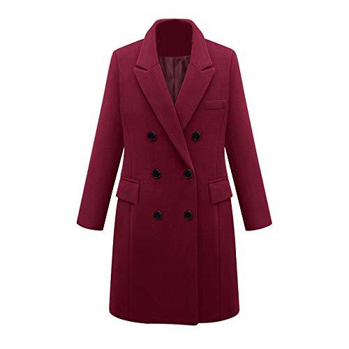 Damen Lang Mantel Herbst Winter Lässige Jacke Elegant Solid Warm Outwear mit Knopf Revers Verdicken Wollmantel Winterjacke Übergroß Lose Outwear