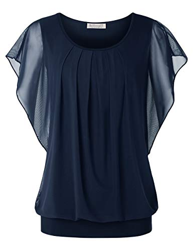 BAISHENGGT Damen Falten Kurzarm Tunika Batwing Rundkragen Bluse Blau-4 Large