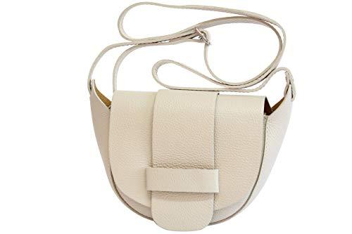 Creme Leder Handtasche (AmbraModa Kleine Ledertasche, Umhängetasche, Schultertasche, Discotasche (Creme))