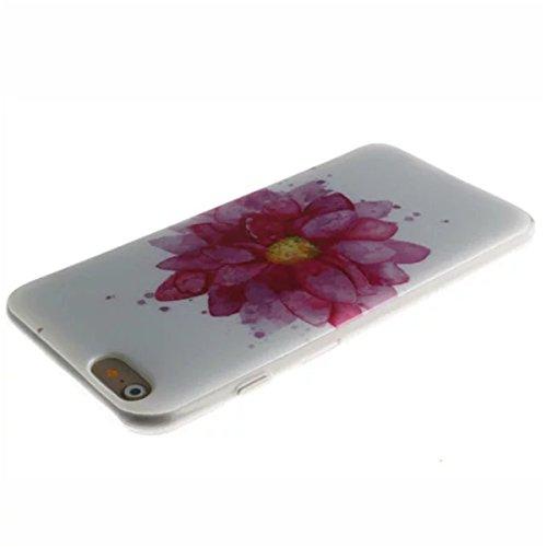 iPhone 6 Coque, iPhone 6S Coque, Lifeturt [ Route 66 ] [Ultra Mince] Silicone TPU Souple Case Cas de Couveture Coque Integral Protection Anti Rayure Anti Choc Résistante Fashion pour Apple iPhone 6s / E02-Fleur rouge