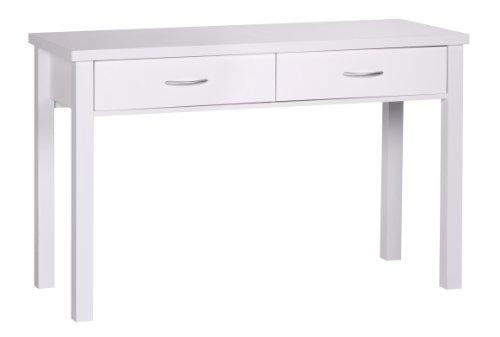 Amstyle Schreibtisch Sam mit 2 Schubladen Holz, Moderner Konsolentisch für Flur Möbel, Schminktisch Konsole Platzsparend, 120 x 50 x 77 cm, weiß