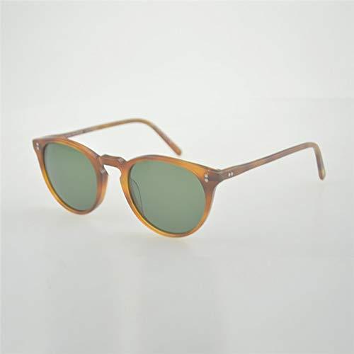 LKVNHP Hohe Qualität Unisex Retro Sonnenbrille Marke Oculos De Sol Oval Runde Sonnenbrille Sonnenbrille RahmenBernstein Vs Grün