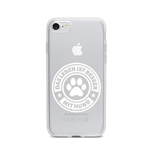 licaso Apple iPhone 8 Handyhülle Smartphone Apple Case aus TPU mit Das Leben Ist Besser MIT Hund Print Motiv Slim Design Transparent Cover Schutz Hülle Protector Soft Aufdruck Lustig Funny Druck -