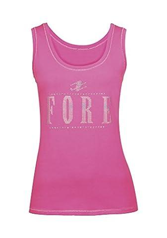 XFORE débardeur sans manche shirt top Miami avec logo en strass pour femmes en pink, taille S