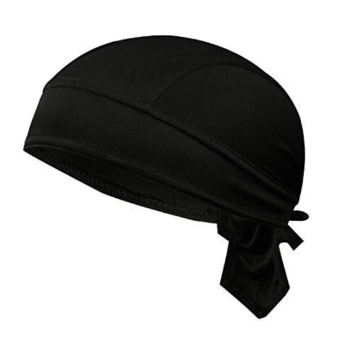 GWELL Unisex Bandana Cap Atmungsaktiv Piraten Kopftuch Bikertuch UV Schutz Fahrrad Erwachsene Radsport Einfarbig Schwarz -