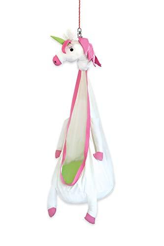 Snuutje - tana sospesa per bambini elli l'unicorno (testato contro la presenza di sostanze nocive e certificato gs, in 100% cotone, dura fino a 80 kg, con accessori), colore: bianco/rosa
