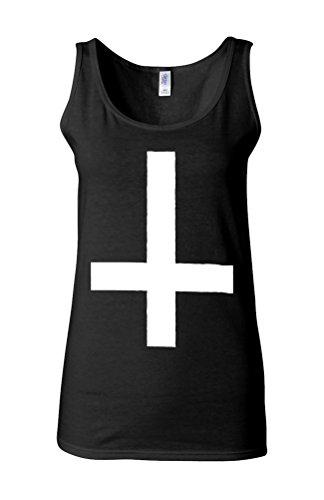 Inverted Cross Cool Dope Novelty White Femme Women Tricot de Corps Tank Top Vest *Noir
