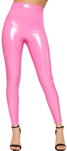 Verrückte Mädchen Frauen Vinyl Leggings Damen PVC Wet Look Shiny Disco Hohe Taille Skinny Hosen Hosen EU 34-40 (EU40 - UK12, Rosa) -