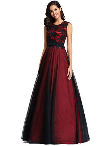 Ever-Pretty Robe de Soirée Longue Femme Appliques Fleurs en Tulle A Line Bordeaux 50