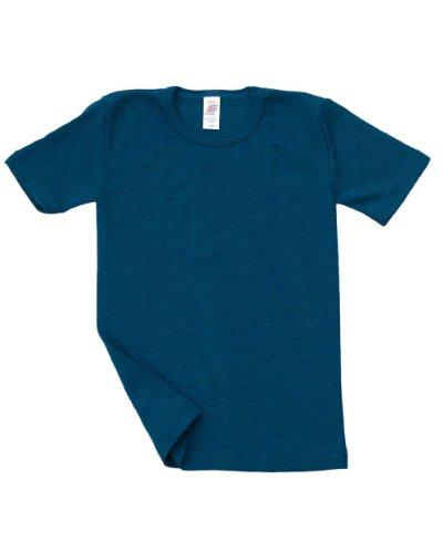 Engel, Unterhemd kurzarm, Wolle Seide, Grösse 152, Light Ocean (Kinder-seiden-unterwäsche)