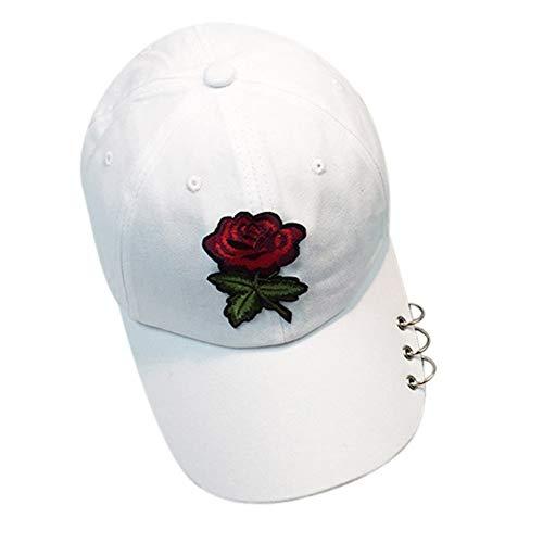 JJJRMP Frauen Baseballmützen Sommer Blumenmädchen Rose Hysteresenhut Hip Hop Flat Hat Weibliche Baumwolle Casual - Tourist Kostüm Weiblich