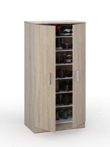 Esidra mobiletto portascarpe, scarpiera in legno con sette ripiani, 108 x 55 x 36 (quercia), unica