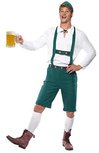 Smiffys, Herren Oktoberfest Kostüm, Kurze Hose mit Hosenträgern, Oberteil und Hut, Größe: L, 39497 (Oktoberfest Kostüme Herren)
