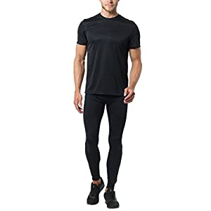 Ultrasport Advanced Herren Laufhose / Lauftight Ultra Visible Heartbeat, sicher und bequem mit Reflektor-Vollprints, lange Sporthose, Thermoleggings, RV- Tasche, weitenverstellbar, RV an den Beinenden