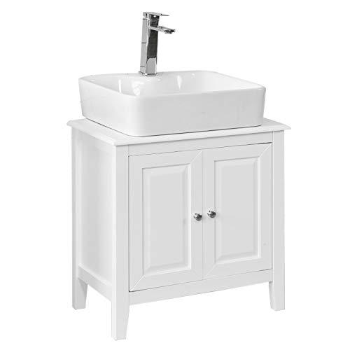 SoBuy FRG202-W Base armadietto a due ante, Armadietto sotto lavabo, bianco,