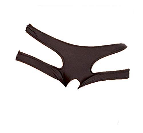 Boowhol Frauen Unterwäsche Rückenfrei Ouvert Sexy Tanga Unterhosen Panty groß Größe (2XL, Schwarz)