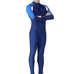 Femmes Hommes Combinaison de Plongée Zippé Anti-UV Manches Longues pour Plongée Natation Surf (homme, 2XL)