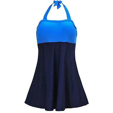 HHBO Damen Einteiler - Hochgeschnitten Einheitliche Farbe Mit Schleife Polyester Halfter Blue