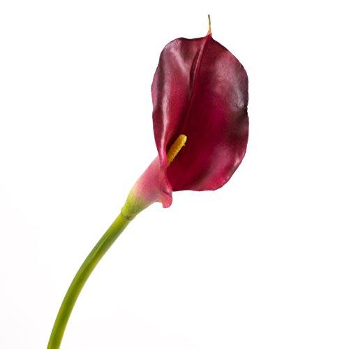artplants Set 3 x Künstliche Calla, Burgunderrot, real-Touch, 75 cm, 8 x 14 cm - Kunstblume/künstliche Blume