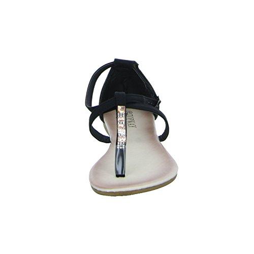 Topway B702180 Damen Sandalette bis 30mm Absatz Schwarz (Schwarz)