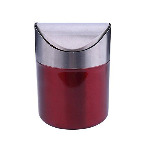 Mini gebürstetem Edelstahl Swing Top Arbeitsplatte Abfalleimer 12x16.5cm Wein Rot Bin Matt Steel