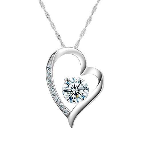 Chaomingzhen 925 Sterling Silber Damen Herz Halskette Anhänger Zirkonia Rhodiniert Kette