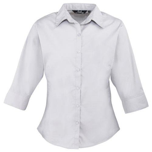premier-3-4-sleeve-poplin-blouse-plain-work-shirt-12-silver