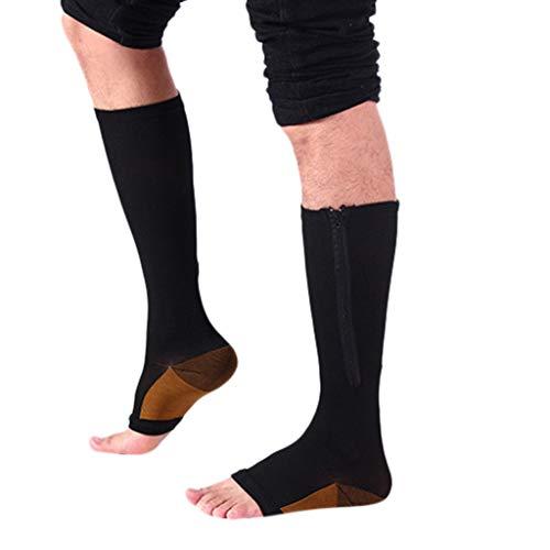 Coolmax-knöchel-unterstützung (MOIKA_Bekleidung MOIKA Strümpfe Kompressionsstrümpfe mit Reißverschluss, knielang, unterstützt das Bein, offener Zehenbereich Reißverschluss Stretch Bein Unterstützung Socken zum Damen und Herren)
