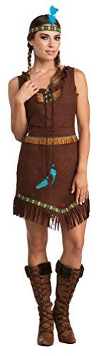 Karneval-Klamotten Indianer Kostüm Dame Apache Indianerin Kostüm dunkel braun mit Stirnband Karneval Damen-Kostüm Größe ()