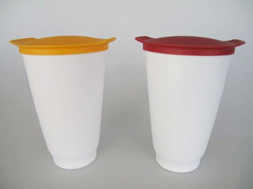 TUPPERWARE Allegra Cups 450 ml orange + rot Becher Trinkbecher Getränkebecher