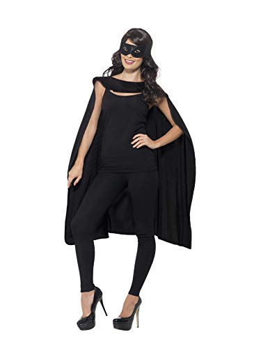 & Kostüm Batman Maske Kind Cape - Smiffys Unisex Umhang und Augenmaske, One Size, Schwarz, 41581