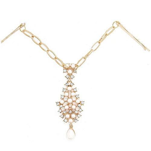 Angoter Strass Brauthauptkette Perlenstirnkopfstück Kristall Hochzeit Indian Head-Schmucksachen Für Mädchen-Frauen-Haar-Zusätze