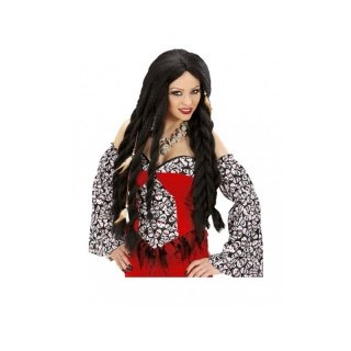 Ladies Long Black Caribbean Pirate Voodoo Wig for Fancy Dress Costumes & Outfits Accessory