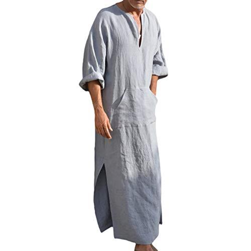 Ethnische Roben Männer Lange Ärmel Lose Fit Kaftan Kleid Retro Pure Farbe Casual Roben mit Taschen Ethnische Kleider Kostüm