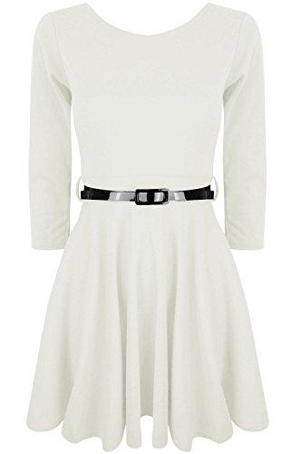Oops Outlet Damen Skater-Kleid Weiß Small