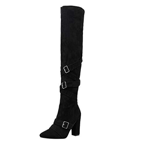 ZHANSANFM Stiefeletten Damen Vintage Schnalle Hohe Schlauchstiefel mit Blockabsatz Mode Wildleder Langen Stiefeln Crossover Lace-up Hohe Stiefel Elegant Overknee Ankle Boots (37 EU, Schwarz) -